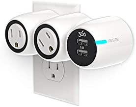 360 Electrical 360530 PowerCurve Mini Mobile Surge Protector with 2 Rotating Outlets, 2 USB Ports, 3.4A/17W USB Power, Fold and Travel Plug, and 306 Joules of Surge Protection Designed for Large Plugs