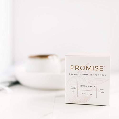 Promise Organic Morning Sickness Relief Tea - Made with Organic Ginger - Naturally Relieve Nausea and Constipation During Pregnancy - Caffeine and Sugar Free - 16 Pyramid Bags for Full Flavor
