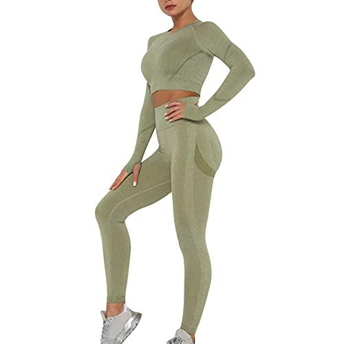 Sfit Sport Set Damen Sportanzüge Jogginganzug Traingsanzug 2 Teile Nahtlose Sportanzug Damen Langarmshirt Crop Top und Hohe Taille Yoga-Leggings Bekleidungs Freizeitanzug Yoga Outfit