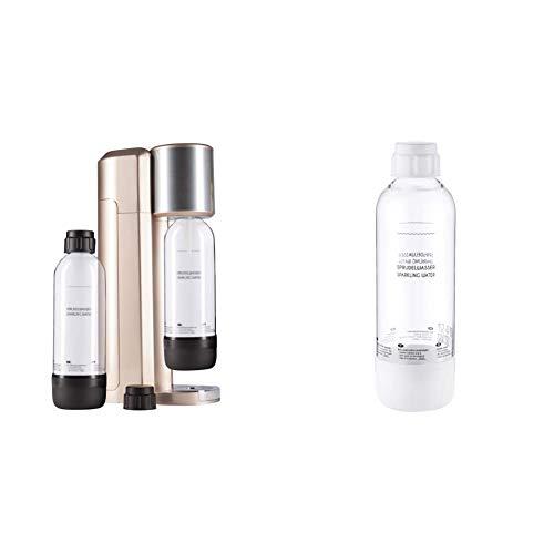Levivo Wassersprudler Set/Trinkwassersprudler Starter Set inkl. 2 Sprudlerflaschen aus PET, Rosegold & Wassersprudler Flasche, bruchfeste Kunstoffflasche für Levivo Sprudler, Inhalt: ca. 1 Litre