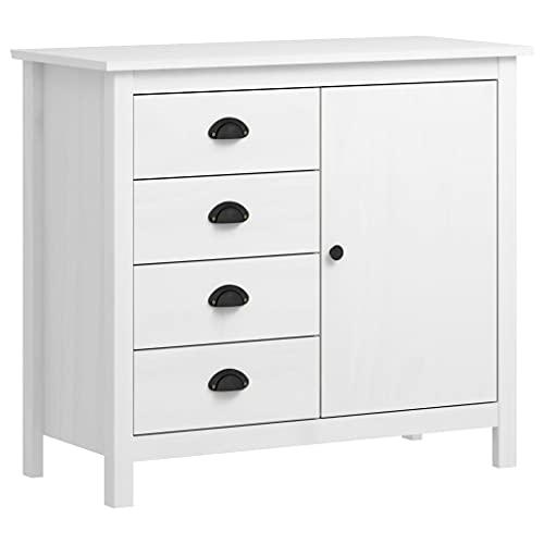 Aparador de estilo retro, armario de cocina con 4 cajones y 1 puerta, 91 x 40 x 80 cm, madera de pino maciza, color blanco