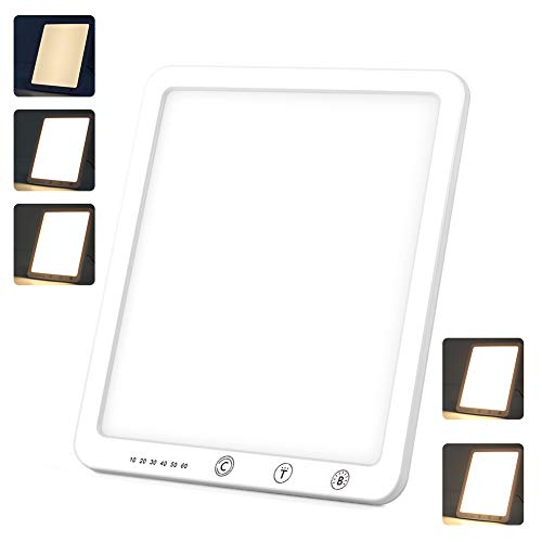 Tageslichtlampe 10000 LUX Simulation von Tageslicht Lichttherapielampe 3 Farbtemperaturen & 5 Helligkeiten Touch Switch Tageslichtlampe, UV-freie