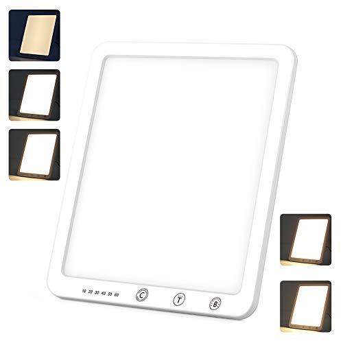 Tageslichtlampe 10000 LUX Touch Switch Lichttherapielampe 3 Farbtemperaturen & 5 Helligkeiten Tageslichtlampe, mit 6 Timern & 180 ° verstellbaren Halterung