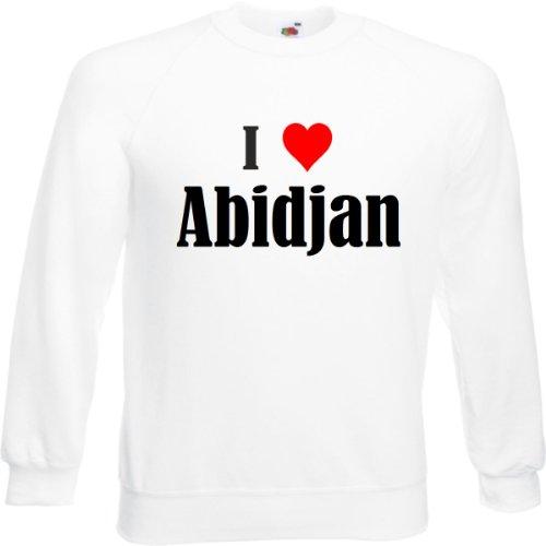 Reifen-Markt Sudadera I Love Abidjan para mujer, hombre y niños en los colores negro, blanco y azul con estampado Blanco 34 W/34 L