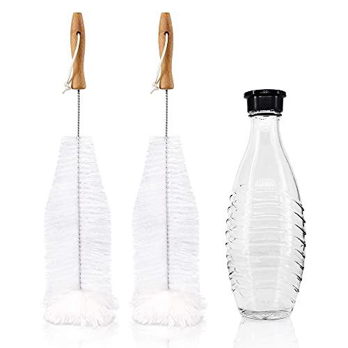 KYONANO Reinigungsbürste, 2 Flaschenbürste geeignet für Sodastreamflaschen, Bürsten mit Antikratz Baumwollkopf, Premium Sodastream Bürste Glasflasche, Flaschenreiniger für Trinkflaschen