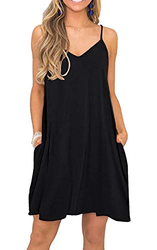 VIISHOW Women's Summer Spaghetti Strap Casual Swing Tank Beach Cover Up Dress with Pockets, Black, X-Large