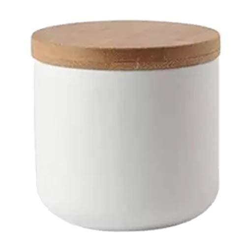 Generic Bocaux à épices en Céramique avec Bouchon en Bois - Boîte de Conservation Réutilisable Pour Ranger Herbes et épices - blanc