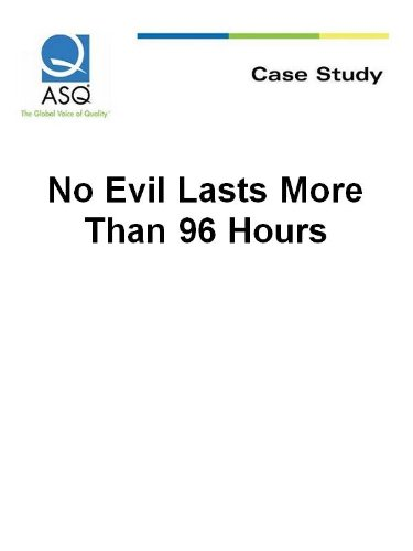 No Evil Lasts More Than 96 Hours (ASQ Case Study) (English Edition)