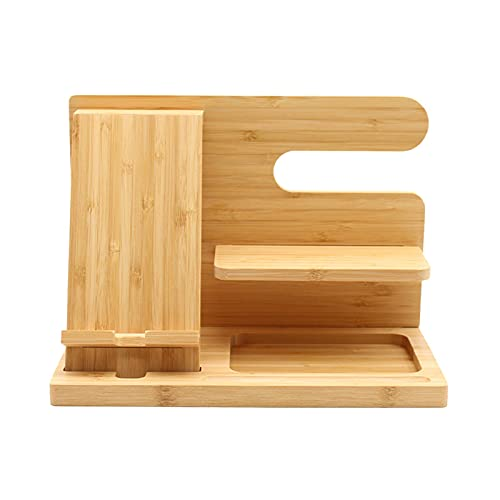 Estación de acoplamiento para teléfono de madera, elegante estación de acoplamiento y organizadores para hombres, soporte para llaves de ceniza, organizador de reloj, soporte para teléfono de madera y