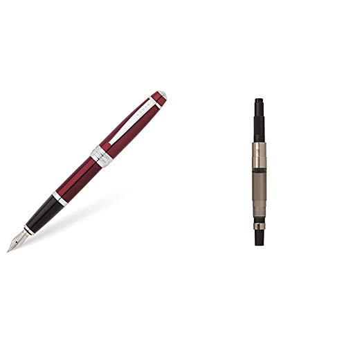Cross Bailey - Pluma estilográfica (capuchón de rosca, incluye cartucho de tinta negra, lacado con brillo, plumín tamaño medio), color rojo + 8756 - Émbolo de repuesto