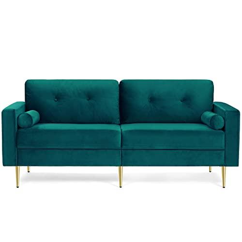 VASAGLE 3-Sitzer Sofa, Couch für Wohnzimmer, Bezug aus Samt, für Wohnungen, kleinen Raum, Holzgestell, Metallbeine, einfacher Aufbau, modernes Design, 183 x 78 x 88 cm, petrolfarben LCS001Q02