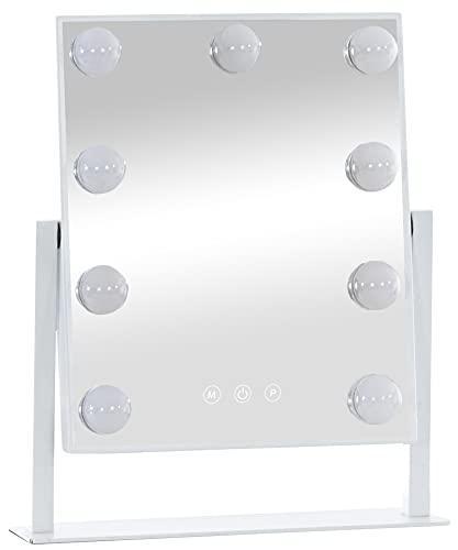 CLP Schminkspiegel Majuro I Kosmetikspiegel Mit LED Beleuchtung I Hollywoodspiegel Neigbar, Farbe:weiß