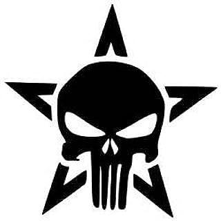 "Punisher Skull Army Star Vinyl Decal Sticker BLACK Cars Trucks Vans SUV Laptops Wall Art 5.25"" X 5.25"" CGS410"