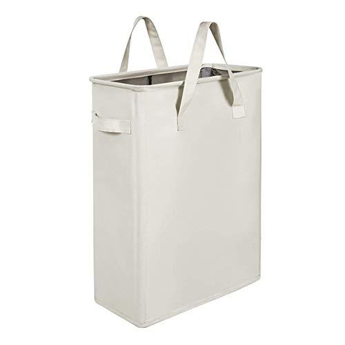 Chrislley Slim Laundry Basket Hamper Collapsible Handy Waterproof Bag Foldable Handle Oxford Cloth Basket Bin Organizer 44.5L(Beige)