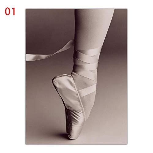 vhidfsjgdsfik (Sin Marco) 60x80CM Acuarela nórdica Estilo Impresiones Lienzo A4 Cartel Arte de la Pared Zapatos de Ballet Imágenes Alas Negras Mujer Pintura Chica Habitación Decoración del hogar
