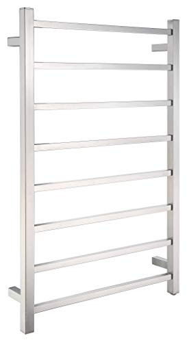 ANZZI Bell 8-Bar Wall Mounted Towel Warmer in Polished Chrome | Energy Efficient 80W Electric Plug in Heated Towel Rack for Bathroom | Steel Towel Heater Rail On/Off Switch Drying Rack | TW-AZ026CH