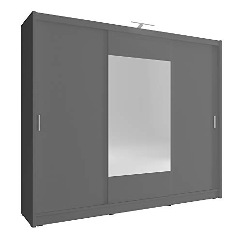 Armario de roble SARAH 250 de 3puertas correderas con espejo grande y luz LED, para dormitorio, de estilo moderno, (blanco, marrón oscuro y claro)
