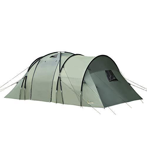 Outsunny Tienda de Campaña para 5 Personas Impermeable 2000mm con 4 Ventanas Vestíbulo y 2 Habitaciones para Camping Acampada Senderismo 580x260x200 cm Verde