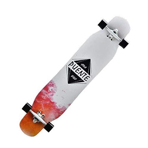 QINGMM Longborads Skateboards 46 Zoll Komplett Drop Down Durch Deck Cruise Professionelle Longboard mit Rucksack, Ersatzlager, T-Werkzeug, Schmieröl