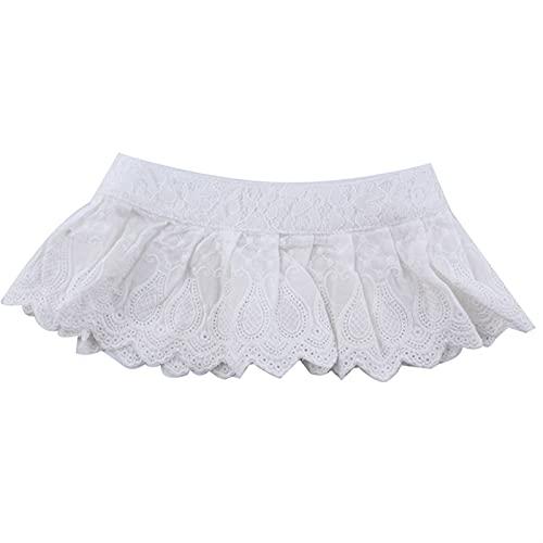 HYTM Collar Falso Camisa Blanco Mujeres Muchacha Fake Cuello Moda Pliegues Falloped Pliegues Cuello de Encaje Camisa Tarito Camisa Desmontable Ropa de Mujer Accesorios (Color : White)