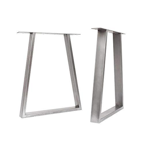 [HLC] 2 x patas de mesa industriales de trapecio: acero acondicionado de superficie, soldadura TIG con tornillos GRATUITOS, guía de construcción y protectores de suelo [Mesa, Acero sin procesar]