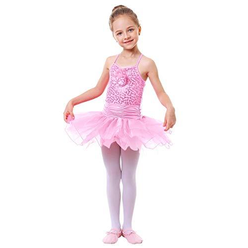 IWEMEK Maillot Vestido de Ballet de Niña de Fiestas Leotardo Tutú Algodón con Lentejuelas Brillantes Ropa de Baile de Gimnasia Infantil Cumpleaños Disfraces Princesa Danza Vestidos Rosa 6-7 Años