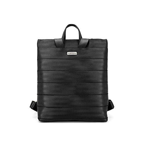 Mochila mediana con luz interior, de color negro hecha de cinturones de seguridad reciclados