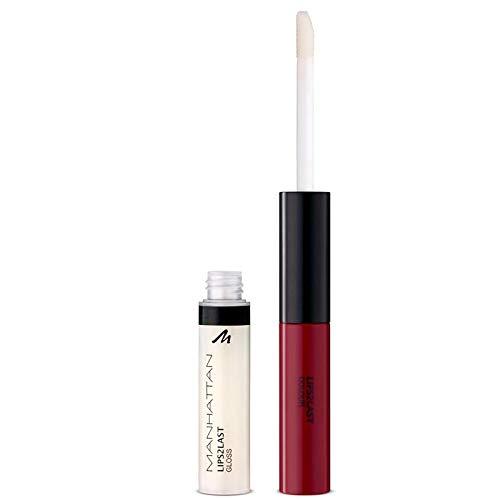 Manhattan Lips2Last Colour&Gloss, Lippenfarbe und Lipgloss in einem, Farbe Charming Berry 48L, 1 x 8ml