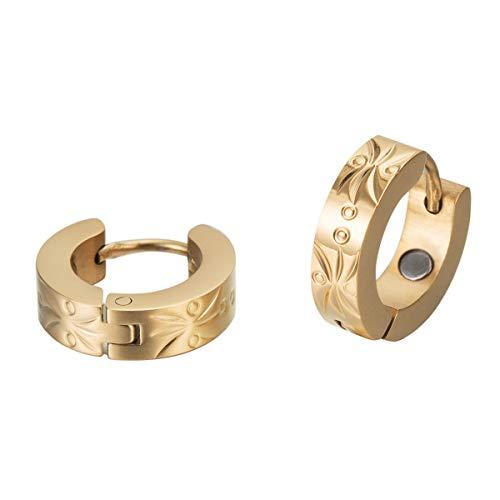 Massive Maiju Gold Magnet Ohrcreolen 18 Karat vergoldet Energetix 4You 2028 medizinischer Edelstahl nickelfrei allergiefrei klassisch elegant Ø 1,4 cm