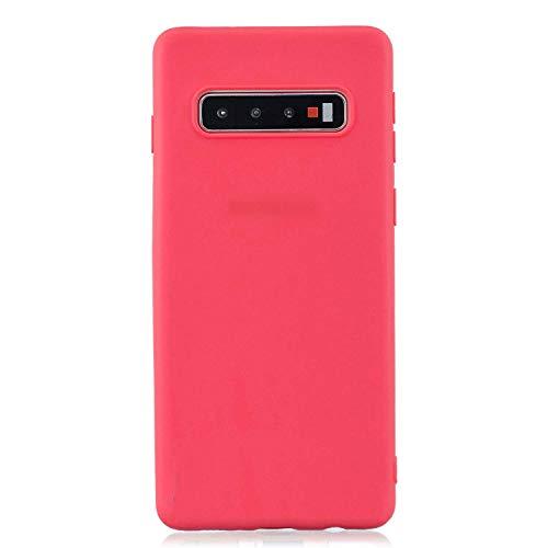 cuzz Funda para Samsung Galaxy S10 Plus+{Protector de Pantalla de Vidrio Templado} Carcasa Silicona Suave Gel Rasguño y Resistente Teléfono Móvil Cover-Rojo