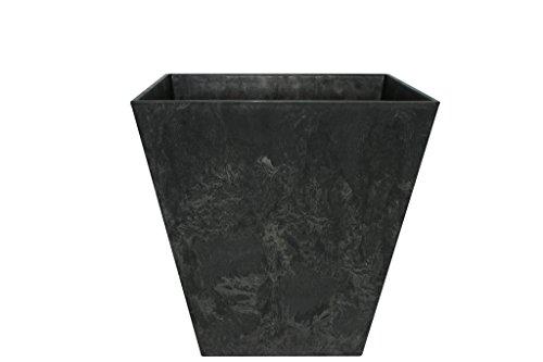 Artstone Pflanzgefäß Pflanzkübel Ella, frostbeständig und leichtgewichtig, Schwarz, 30x29cm
