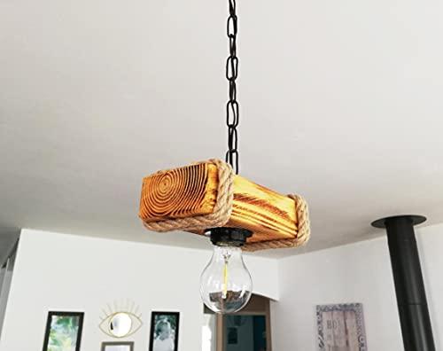 Solenzo – Lámpara de techo de madera y cuerda estilo industrial rústico,...