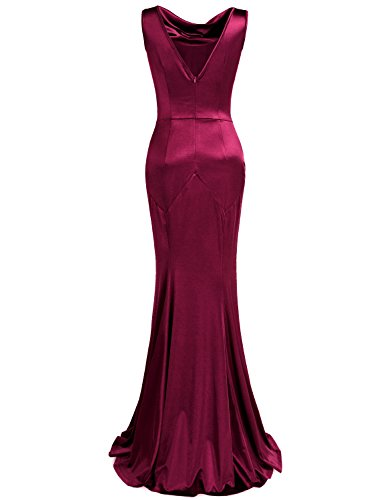 MUXXN Women's 30s Brief Elegant Mermaid Evening Dress (2XL, Burgundy)
