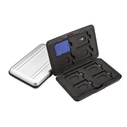 Mydio - Caja organizadora de aluminio para tarjetas de memoria, resistente al agua, tamaño de bolsillo, para 8 tarjetas SD y 8 tarjetas micro SD, color plateado