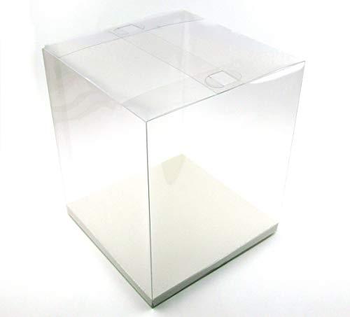 Geschenk-Box durchsichtig, transparent, Geschenk-Schachtel Verpackung mit Einlegeboden, für Hochzeiten Gastgeschenke, Weihnachtsgeschenke, Produktverpackungen (210 x 210 x 250)