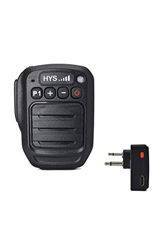HYS Wireless Bluetooth Handheld Speaker Mic Shoulder Remote Speaker Microphone with 35mm Audio Jack for Motorola Radio with Wireless 2Pin Dongle Working for on The Right of Jack