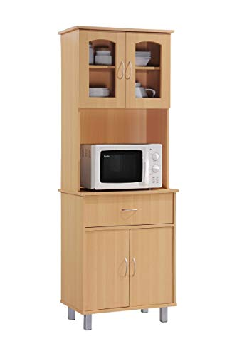 Hodedah Long Standing Kitchen Cabinet with Top & Bottom Enclosed Cabinet Space, One Drawer, Large Open Space for Microwave, Beech
