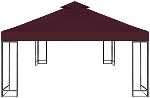 EBTOOLS- 3x3 M Ersatzdach 310 g/m² Pavillondach Weinrot Gartenmöbel für Metall Pavillon, Faltpavillon,Festival-Zelt und Gartenpavillon
