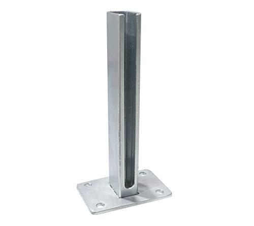 Bodenplatten für Zaunpfosten 60x40mm Doppel-Stab Matten Zaun Adapter Fußplatte verzinkt