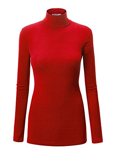 WT950 Womens Long Sleeve Turtleneck Top Pullover Sweater XL RED