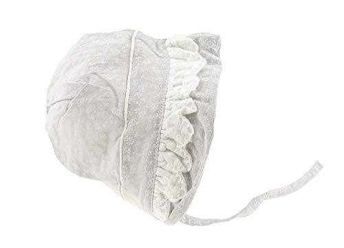 Glamour Girlz Magnifique bonnet de soleil pour bébé fille en coton avec broderie anglaise Motif fleurs vichy Gris Taille XL 40 cm