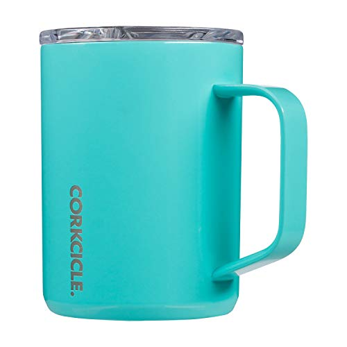 Corkcicle 16oz Coffee Mug - Triple-Insulated Stainless Steel Cup with Handle - Gloss Turquoise