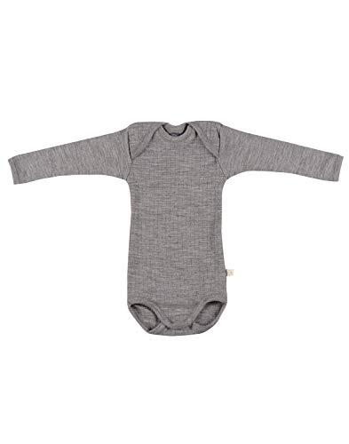 Dilling Gerippter Baby Body aus 100% Bio-Merinowolle Graumeliert 98