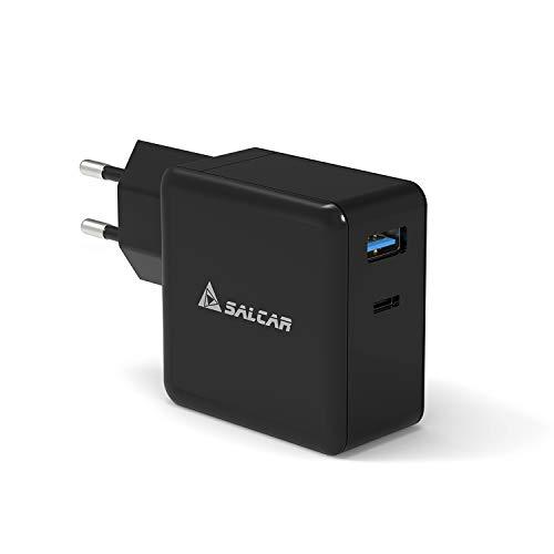 SALCAR 50W 2-Port USB Ladegerät, 50W PD Schnellladegerät + 12W USB A Netzteil, für MacBook, iPhone, iPad, Samsung Galaxy, Nexus, HTC, AirPods, LG, Switch & viele mehr