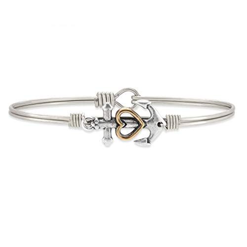 Luca + Danni | Anchor Bangle Bracelet for Women - Silver Tone Size Regular Made in USA