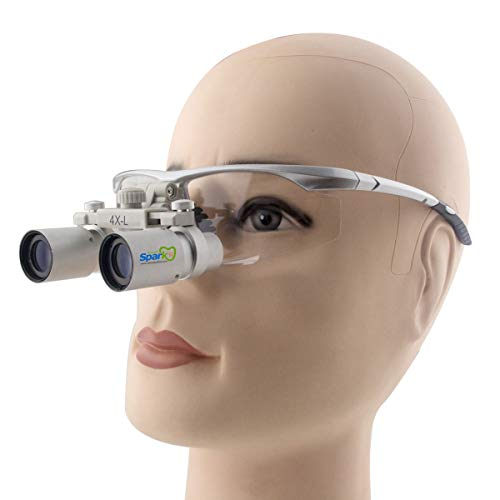 Spark 光学ルーペ式双眼メガネ 4.0x歯科外科手術精密作業専用 銀色スポーツフレーム CH400 440-540 mm 製作 機械 作業 生物研究 開発 手術 歯科 医用 医者 眼科 外科にも使える 拡大鏡 虫眼鏡 双眼ルーペ 時計見ルーペ