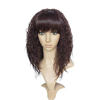 Frauen synthetische Perücke Lange verworrene lockige dunkle Wein natürlichen Haaransatz mit Pony Cosplay Perücke natürliche Perücken Promi Perücke Kostüm Perücke