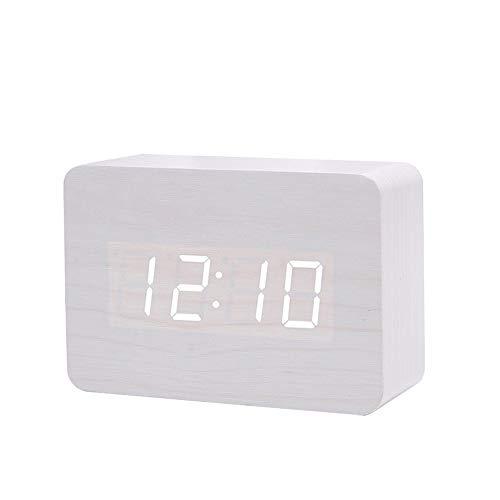 Queta LED Digital Wecker Klein Standuhr mit Datum Temperatur Anzeige, 3 Einstellbare Helligkeit, Sprachsteuerung, 2 Modi Display (Weiß)
