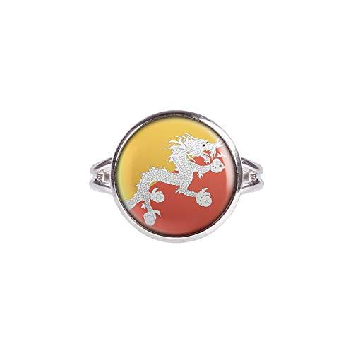 Mylery Ring mit Motiv Bhutan Thimphu Flagge silber 14mm