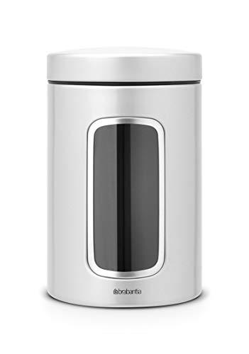 Brabantia - Bote para conservar alimentos con ventana (1,4 litros), metal gris